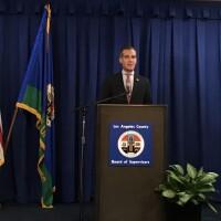 Los Angeles Mayor Eric Garcetti at podium, delivering coronavirus update on March 19th, 2020