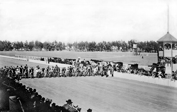 Start of a 25-mile bicycle race in Agricultural Park in 1893. Courtesy of the Title Insurance and Trust / C.C. Pierce Photography Collection, USC Libraries.
