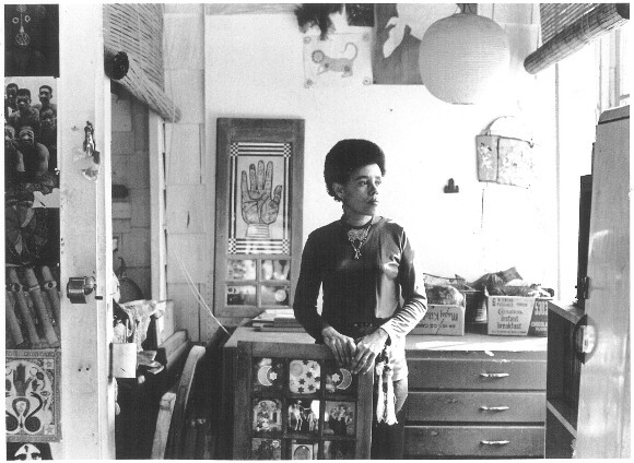 "Betye Saar in her Los Angeles Studio, 1970. Pictured with ""Black Girls Window,"" in the collection of the Museum of Modern Art, New York. 