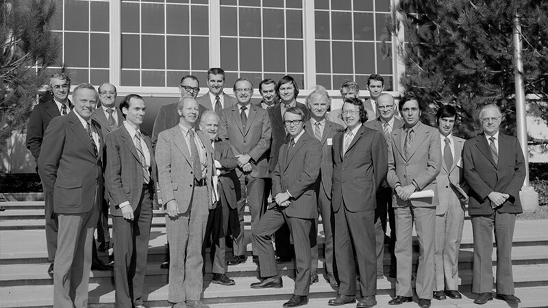The science steering group for a mission then-known as Mariner Jupiter Saturn 1977 -- later renamed Voyager -- at JPL for the first time on the steps in front of the administration building 1972.