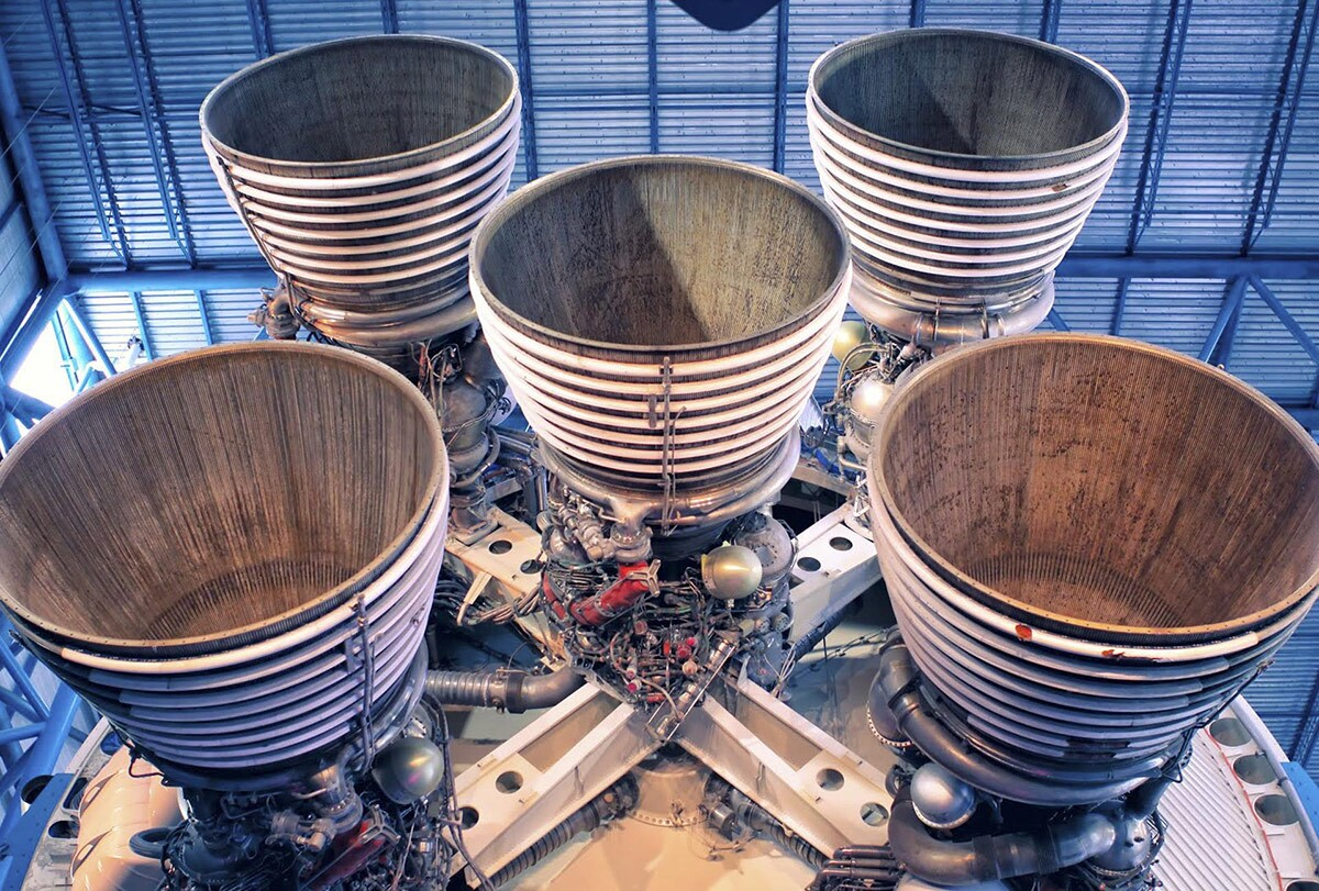 Rocketdyne's massive F-1 engines of the Saturn V's first stage on display inside the Apollo/Saturn V Center at the Kennedy Space Center Visitor Complex. | Courtesy of Google/Wendy Wang, via NASA