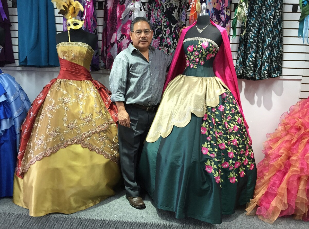Benito Passos Fernandez with Oaxacan dresses