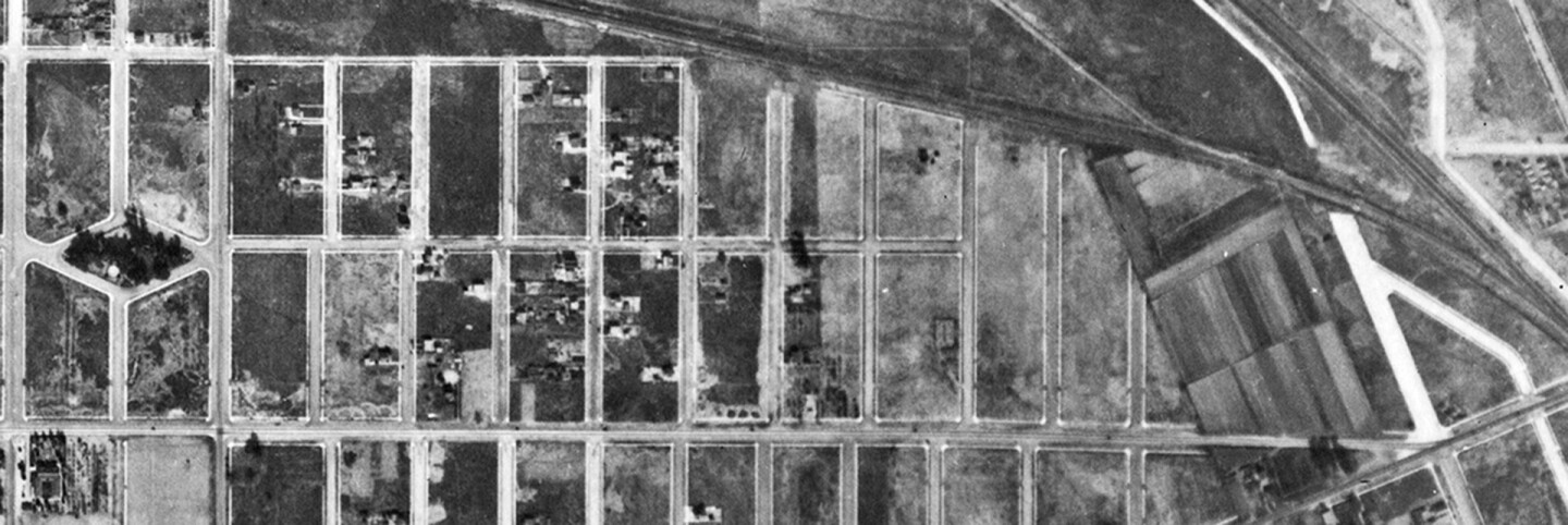 An aerial view of Burbank, between Buena Vista Street (left) and the intersection of Burbank Boulevard, Victory Boulevard and Victory Place(right), on January 1, 1928 shows that streets were wide even before Lockheed established itself in the area.