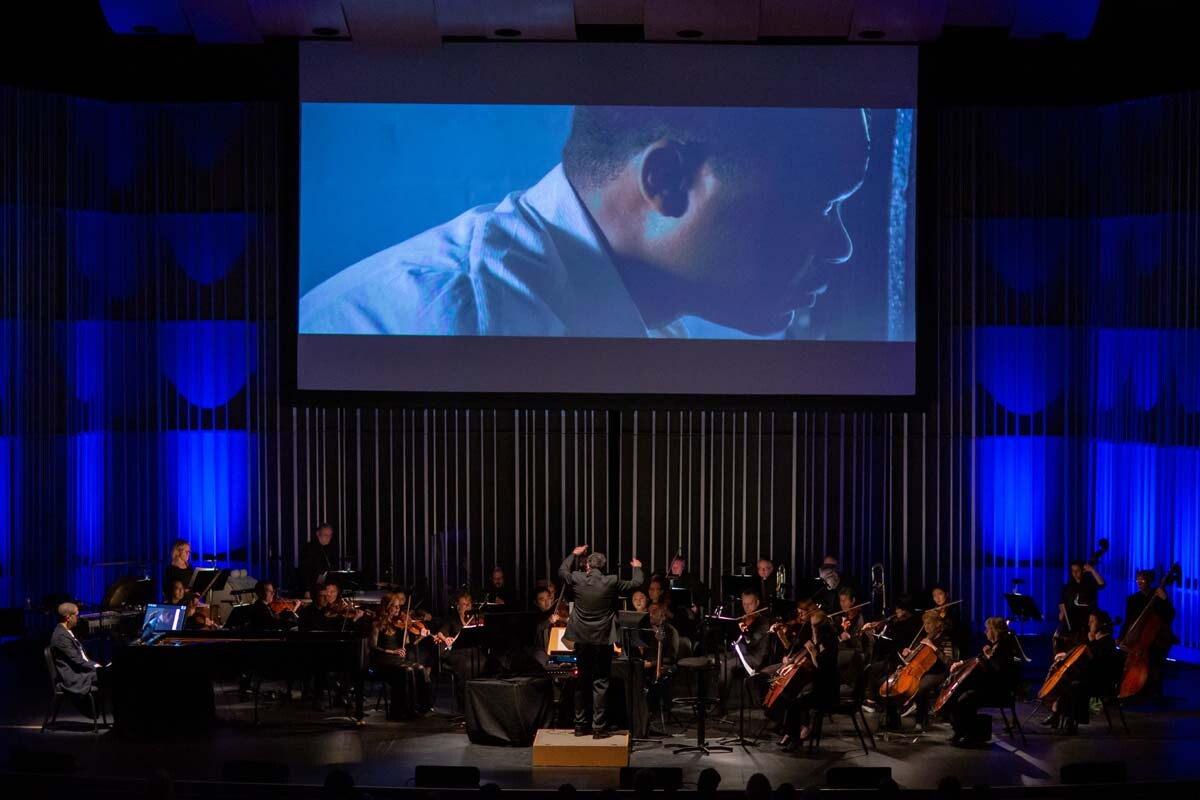 """Conducted by Cheche Alara, the New West Symphony plays the """"Selma"""" live score by Jason Moran at The Soraya on Feb. 1, 2019. 