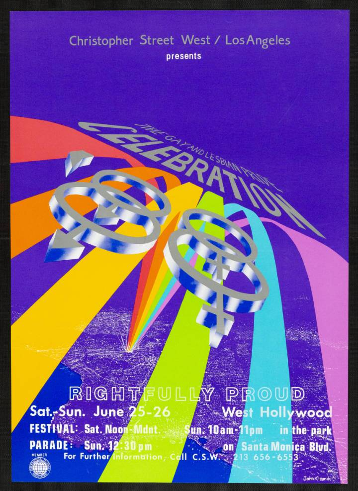 "Christopher Street West/Los Angeles presents the gay and lesbian pride celebration poster featuring the words ""Rightfully proud,"" 1988. 