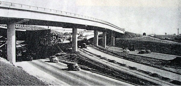 710 Freeway at the Santa Ana Freeway, 1956 | Photo: ''California Highway and Public Works'' courtesy of the Automobile Club of Southern California