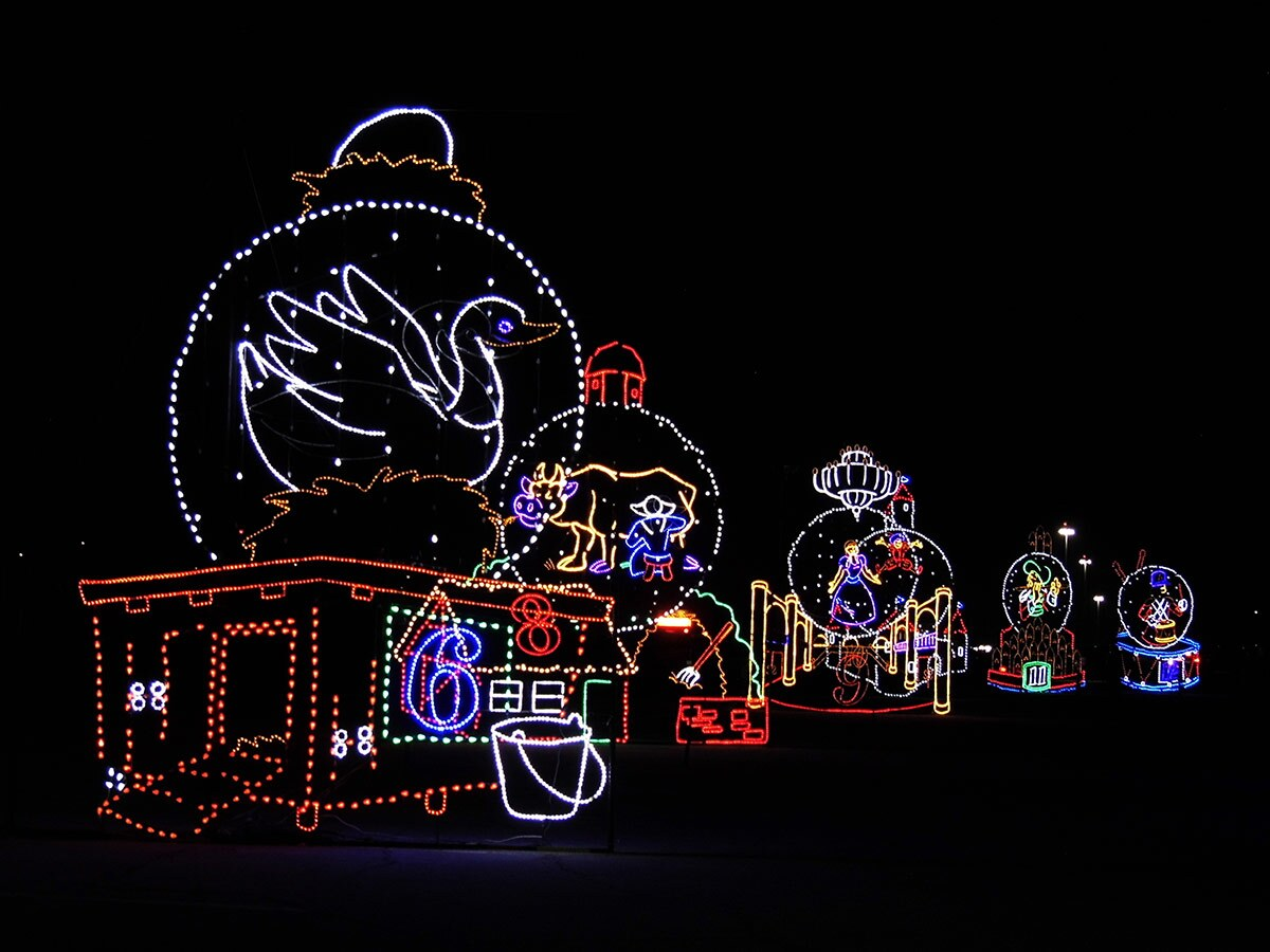 """Several Christmas lights decorations shaped like scenes from the song """"12 Days of Christmas"""" at Night of Lights OC at the OC Fair & Event Center.   Sandi Hemmerlein"""