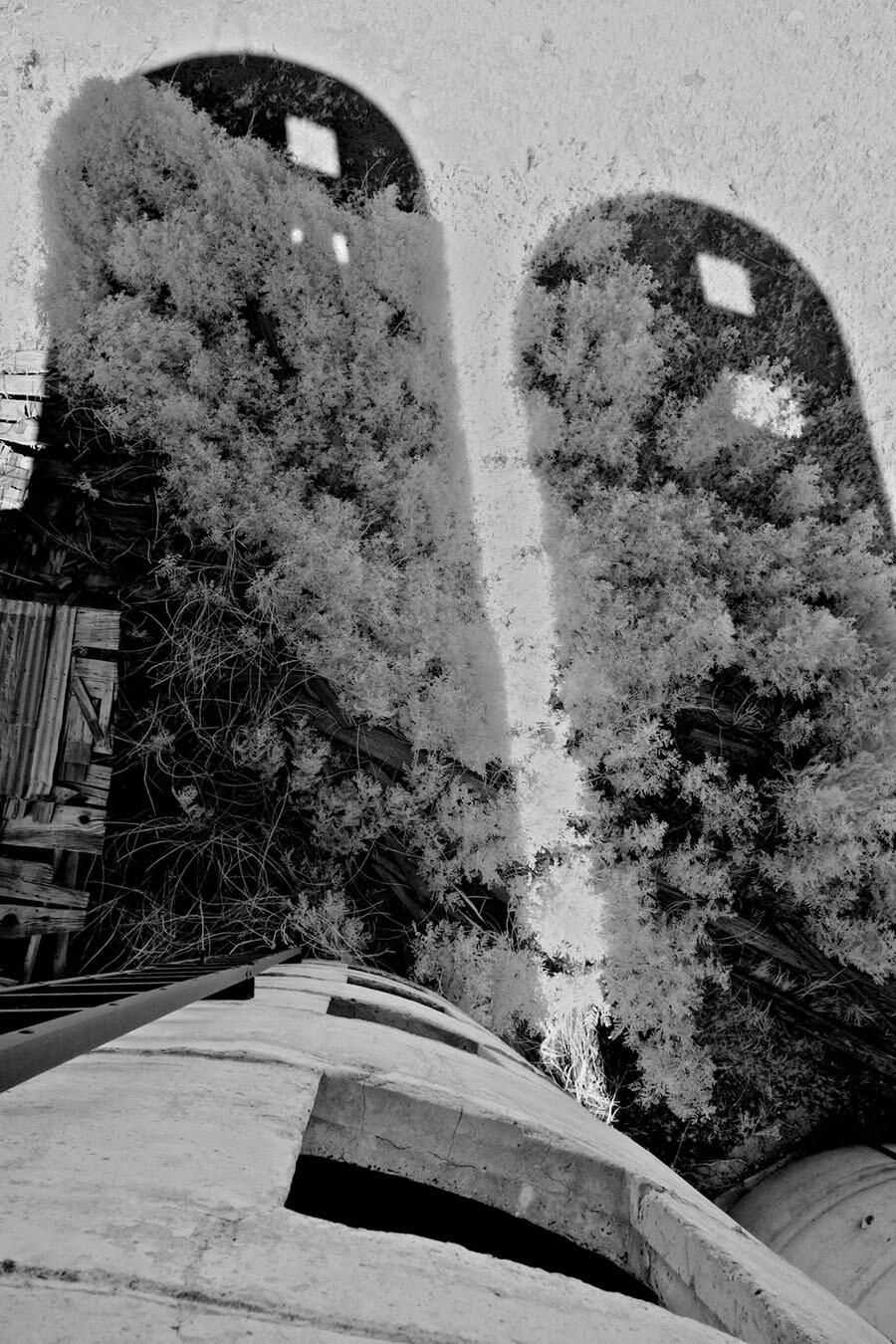 Silos and Shadows- Infrared Exposure- Bishop, CA -2016   Osceola Refetof