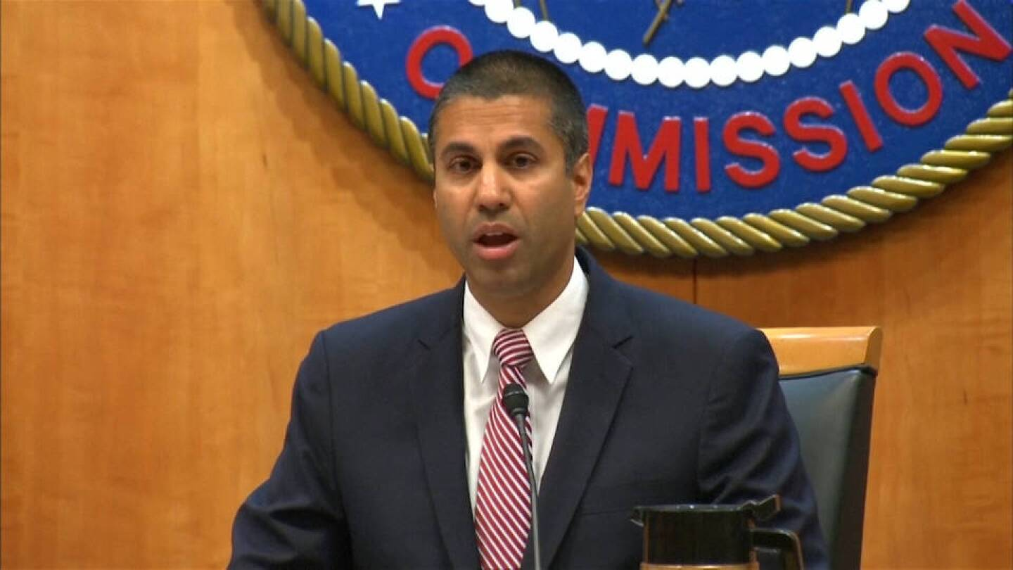 Ajit Pai, chairman of the Federal Communications Commission.   Democracy Now