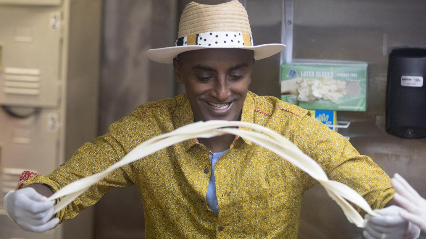 "Chef Marcus Samuelsson makes hand-pulled noodles in ""No Passport Required: Las Vegas."""