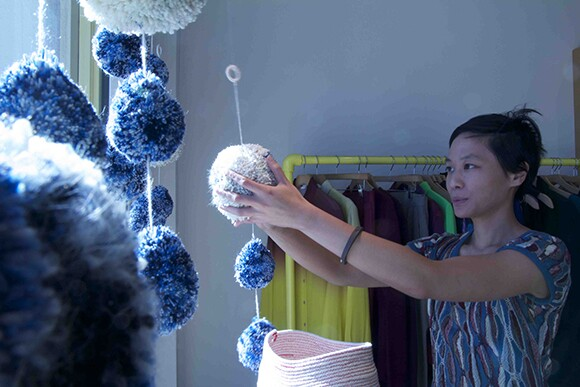 Crocheted chandeliers by Mimi Jung.