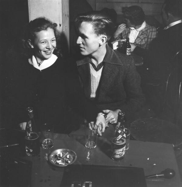 Westons enjoying a drink at Burbank Bowl
