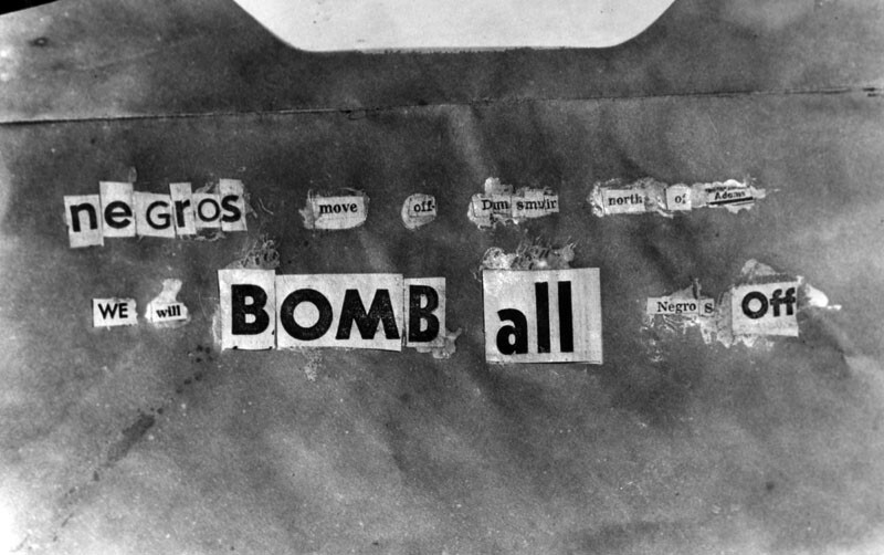 "Copy of the note that was found at the William Bailey home at 2130 South Dunsmuir Avenue, after it was bombed. The note reads, ""Negros move off Dunsmuir north of Adams we will bomb all negros off."" Photograph dated March 17, 1952. 