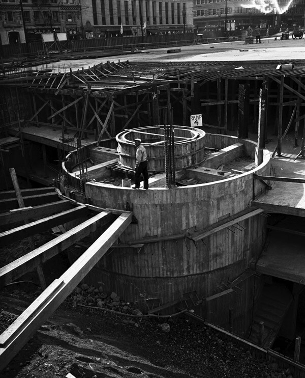 Construction of Pershing Square's underground parking garage, 1951. Courtesy of the Los Angeles Examiner Collection, USC Libraries.