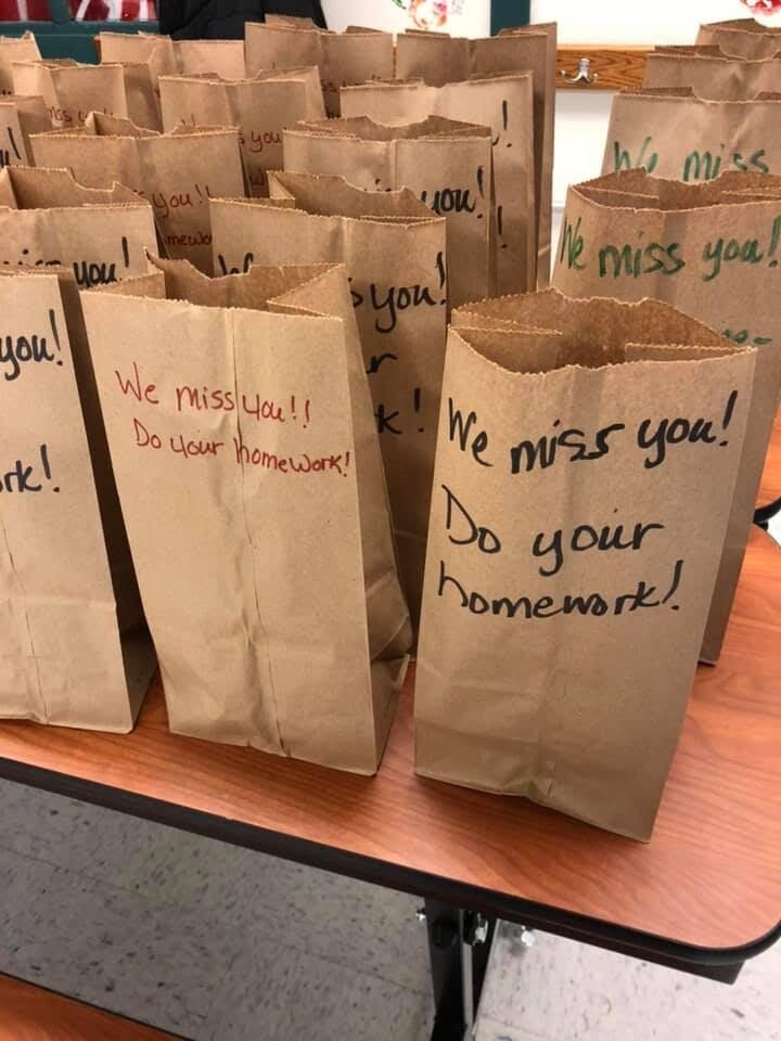 School food service staff leaves students love notes and homework reminders | Leigh Ann Adams and Christina Jeannerett from Little Snake River Valley School in Baggs, Wyoming