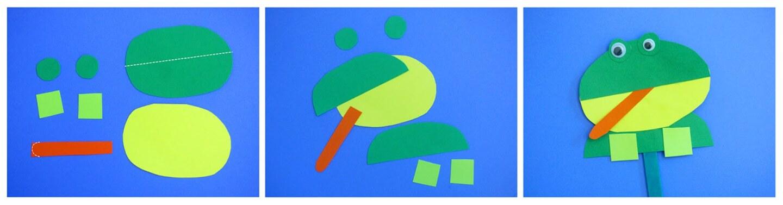 Pedazos de papel verde cortados para asemejar una rana sobre un fondo azul.