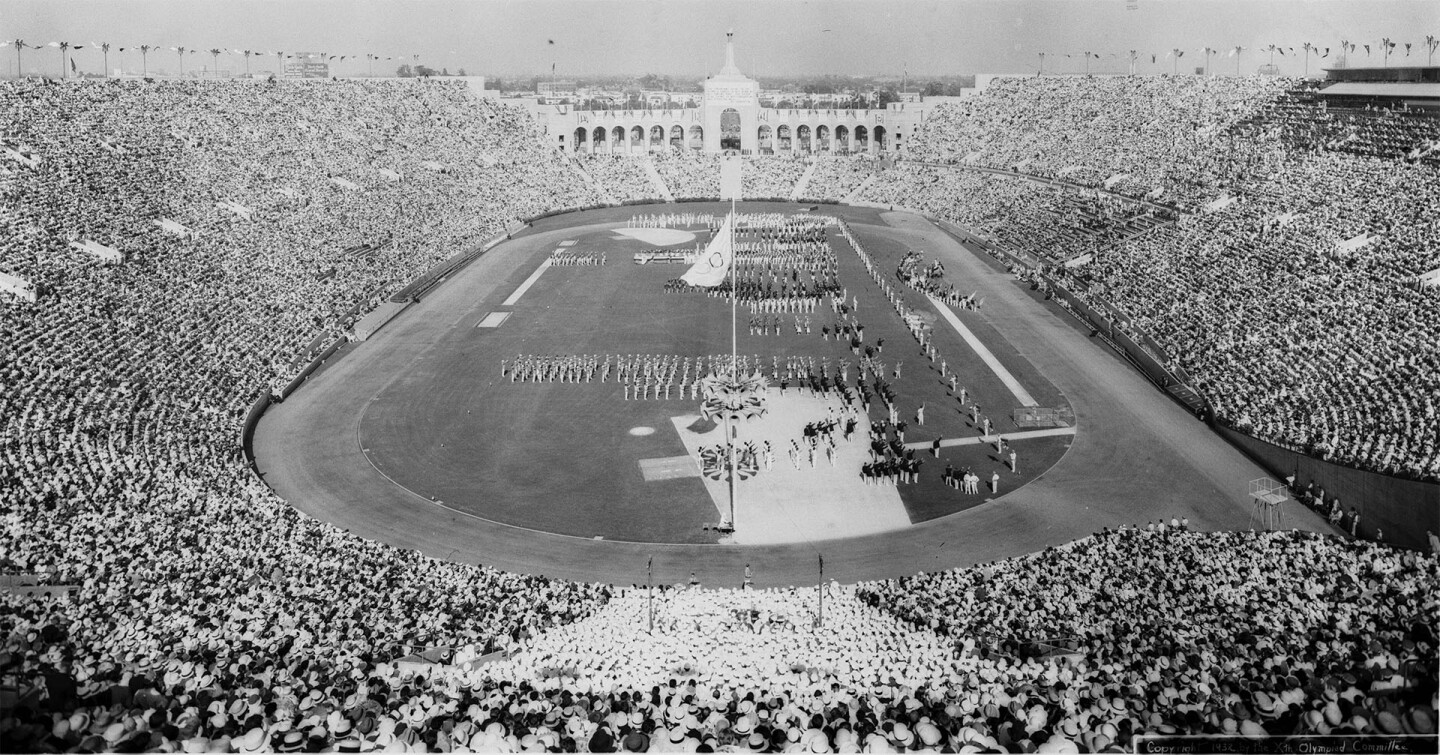 The Los Angeles Memorial Coliseum hosts the opening ceremonies for 1932 Summer Olympics