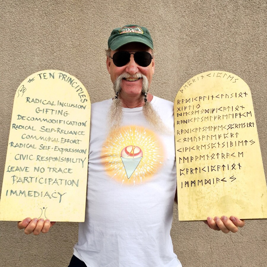 "Jon Peterson, ""The Ten Principles of Burning Man."" Bishop, CA. 2015. | Photo: Osceola Refetoff."