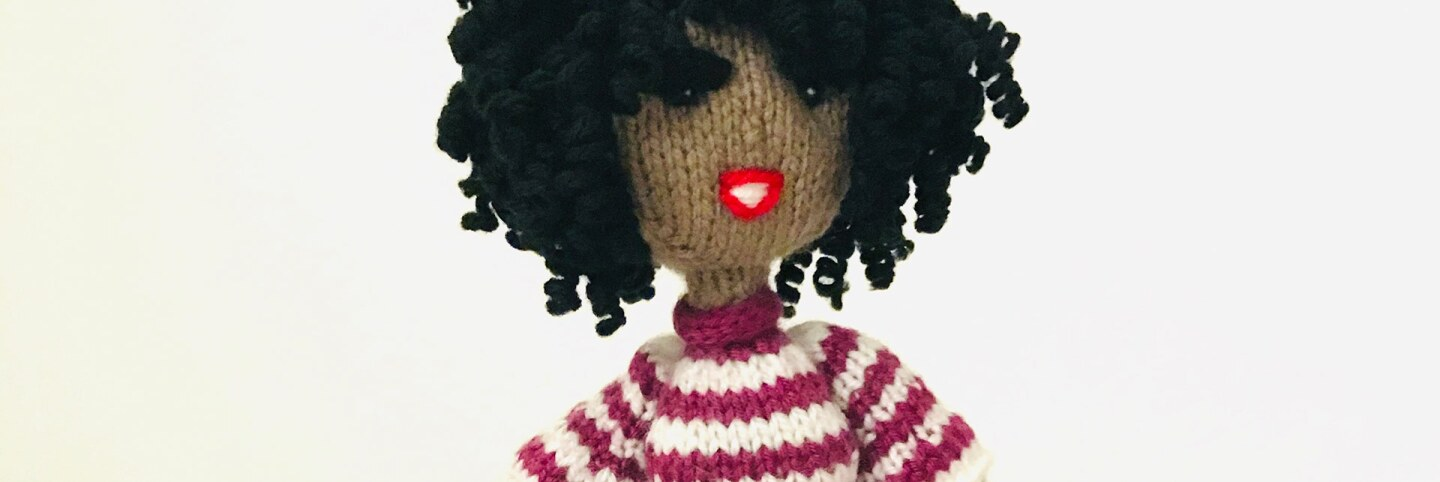 A knit Sherice doll by Adrienne Franklin. | Courtesy of William Grant Still Art Center