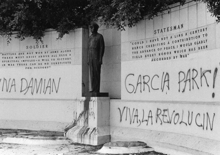 In 1983, the Revolutionary Communist Party petitioned the city of Los Angeles to rename MacArthur Park in honor of Damien Garcia, a party member who had been killed while organizing a May Day rally in East Los Angeles.