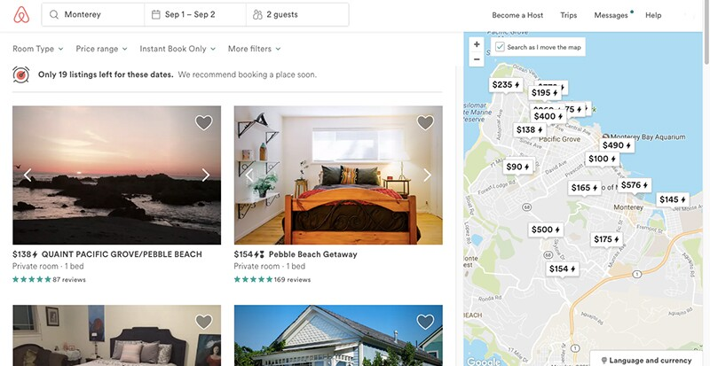 Even AirBNB rentals are pricey in Monterey | Image: AirBnB/KCET
