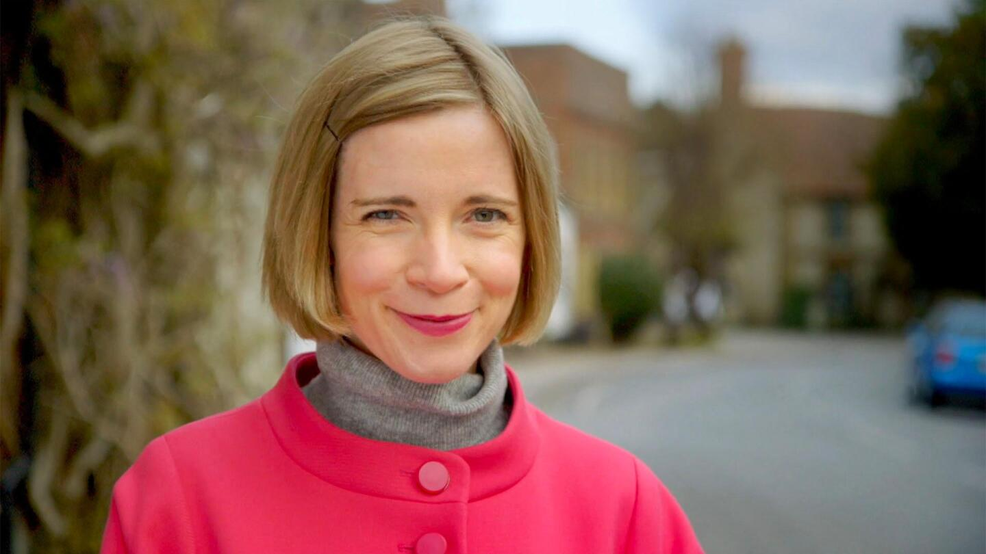 """Portrait of Lucy Worsley as the host of """"A Very British Romance with Lucy Worsley."""""""