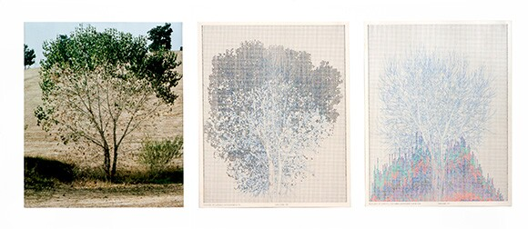 """""""Falling Leaves #10,"""" 1978. Color photograph, ink on paper. Triptych: 20 × 16 in. each; 25 × 57 × 2 in. (framed) Collection of Daisy Addicott. Photo: Randy Vaughn-Dotta"""