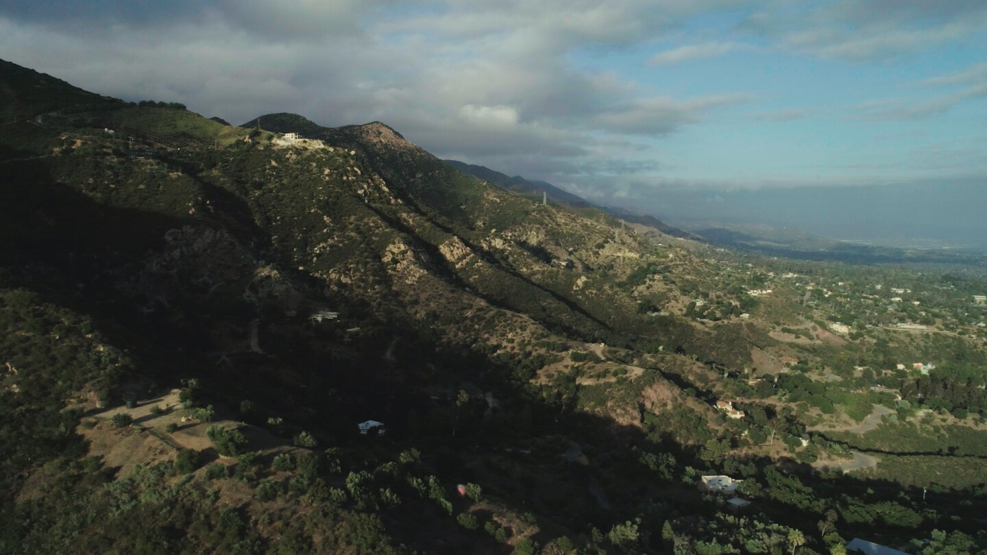 """Aerial view of mountain range in Santa Barbara. 