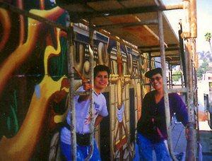 Alessandra Moctezuma with Eva Crockcroft, at work on ''Homage to Siqueiros'' mural   Photo: Courtesy of The MCLA