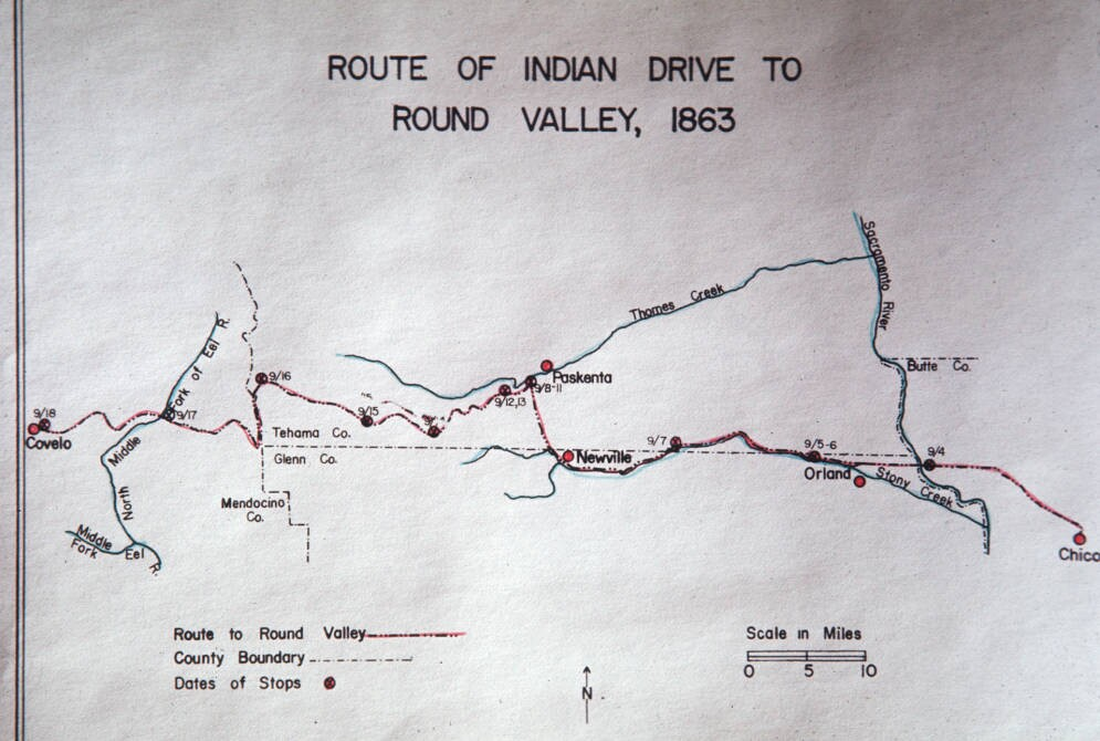 map of route of indian drive to round valley 1863