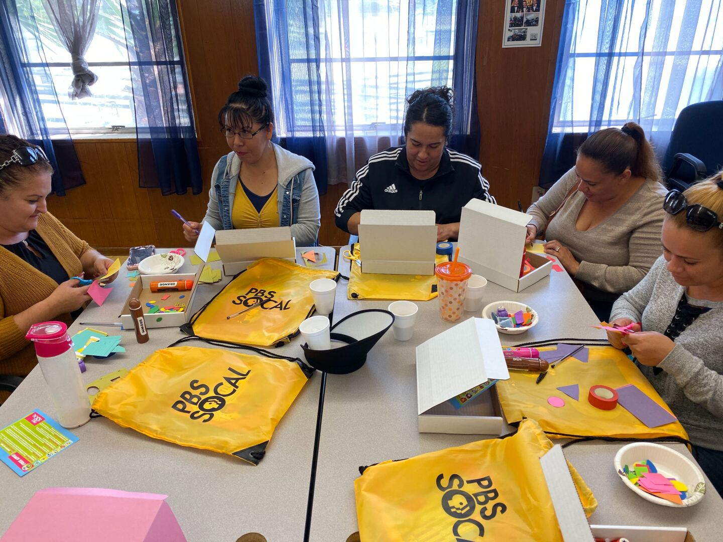 A group of moms participating in a Family Math Parent Workshop at McKinley Elementary in Compton, CA (January 2020).