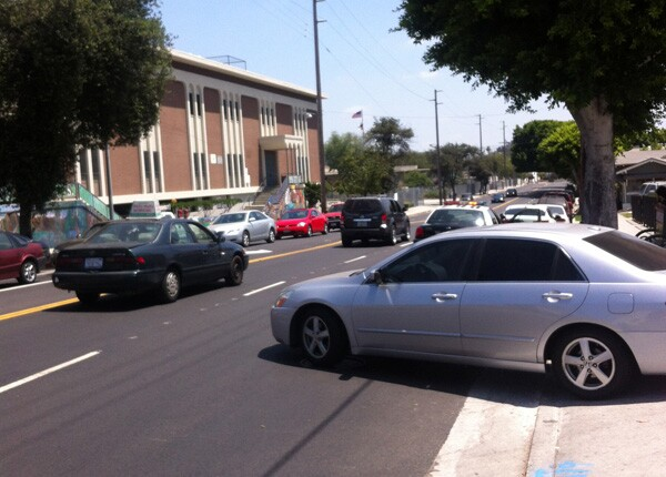 Congestion on N. Figueroa in front of Luther Burbank Middle School Photo: Krista Carlson
