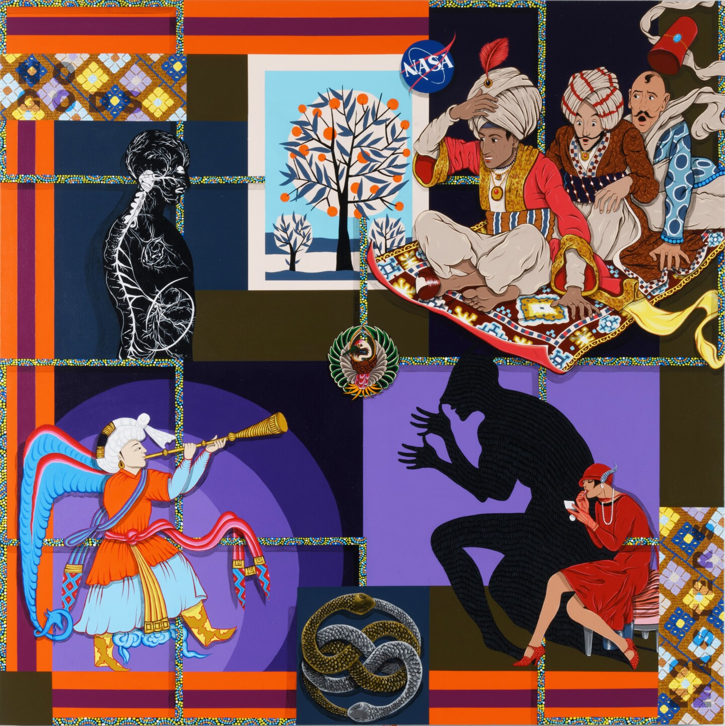 A multi-layered artwork by Amir H. Fallah showing a flying rug with people on board, a man playing a wind instrument and a woman eating something.