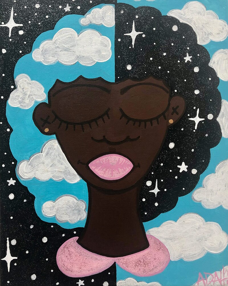 An artwork by Adah Glenn featuring a Black female figure among the clouds. | Courtesy of Adah Glenn