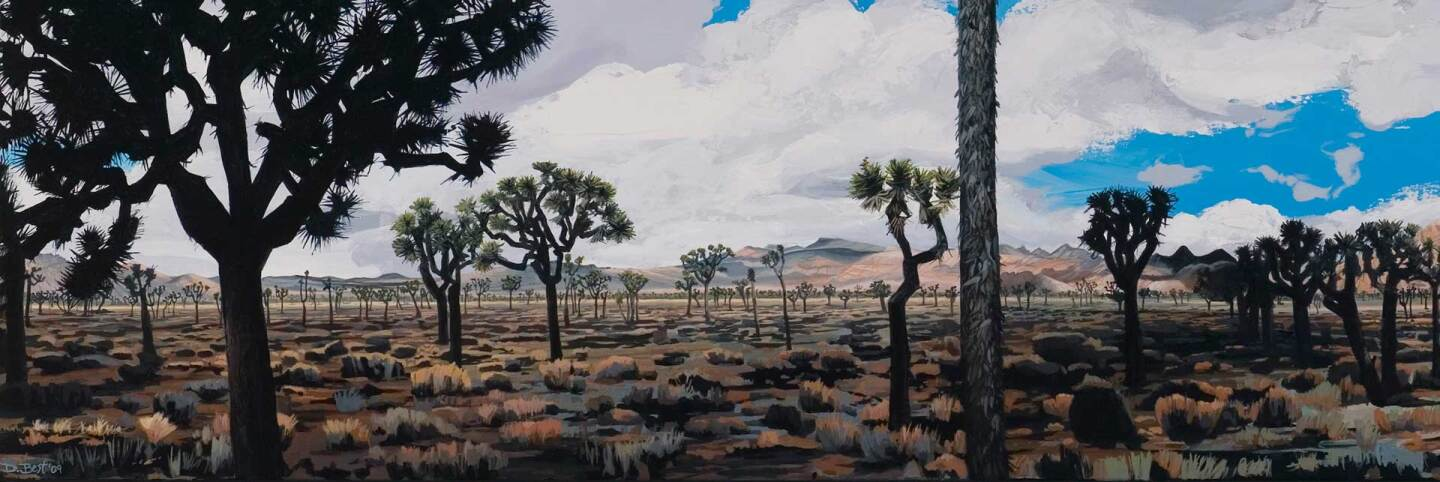 Diane Best's 2009 painting of a Joshua tree woodland in Joshua Tree National Park. | Courtesy of the artist. header
