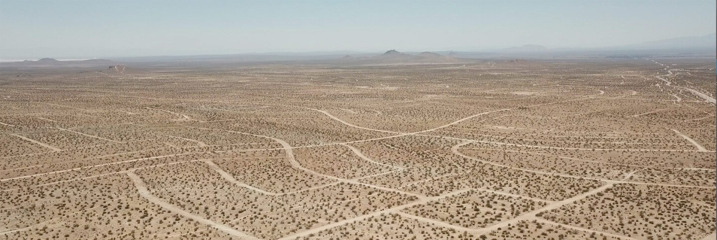 A ghost grid of the desolate federally-held lands of the Mojave Desert. | Kim Stringfellow