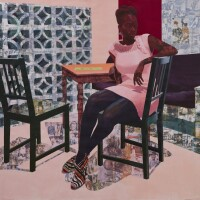 "Njideka Akunyili Crosby, ""Predecessors (Left Panel),"" 2013. Acrylic, color pencils, charcoal and transfers on paper. 7 x 7 feet."