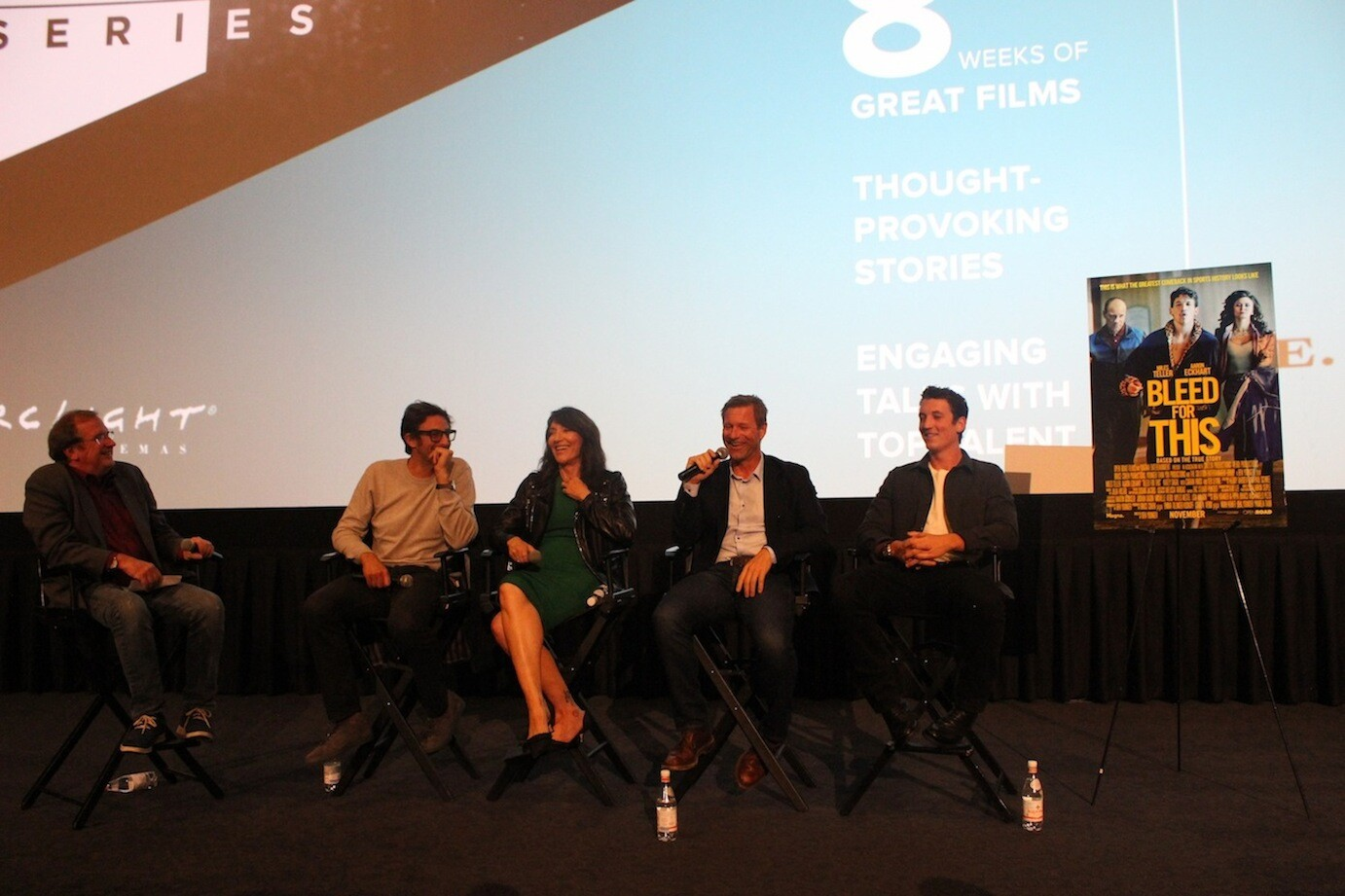 "Pete Hammond, Ben Younger, Katey Sagal, Aaron Eckhart and Miles Teller talk ""Bleed for This"" at the KCET Cinema Series."
