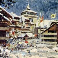 Artist's rendering of Walt Disney Productions' proposed Mineral King ski village
