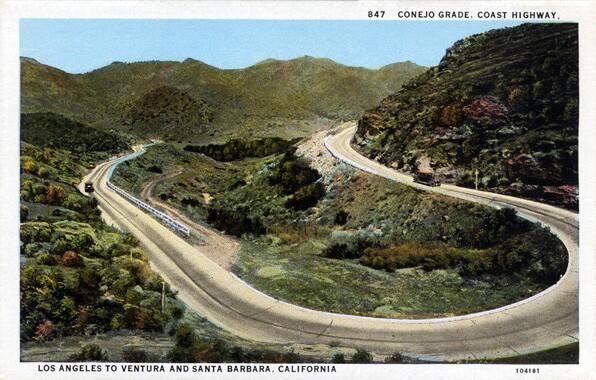 Conejo Grade along El Camino Real between Los Angeles and Ventura, circa 1930. Courtesy Loyola Marymount University Library's Werner Von Boltenstern Postcard Collection