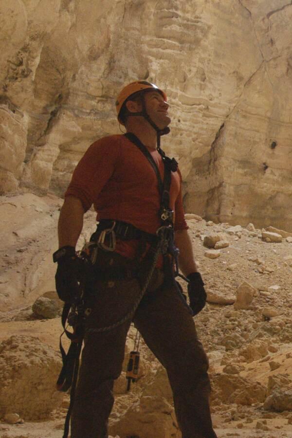 Steve Backshall in cave