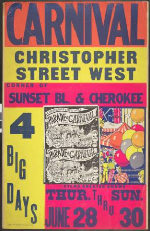 Christopher Street West carnival poster, 1974. | Christopher Street West/Los Angeles, ONE National Gay and Lesbian Archives, USC Libraries