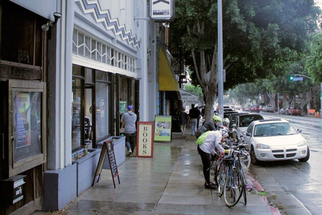Riders park their bikes in front of Skylight Books | Photo: Krista Carlson