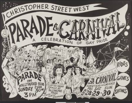 Christopher Street West parade & carnival: a celebration of gay pride poster, 1974. | Christopher Street West/Los Angeles, ONE National Gay and Lesbian Archives, USC Libraries