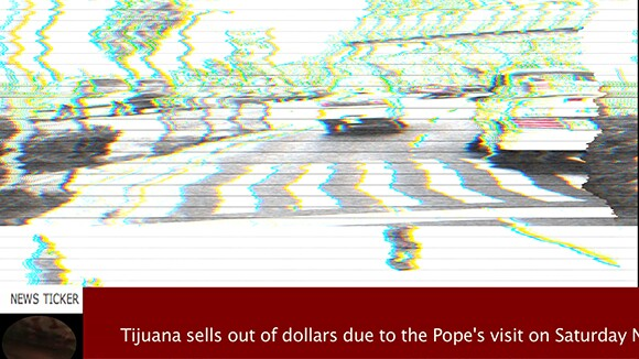 A still from TJ500, Giancarlo Ruiz's frantic video piece examining the relationship between the U.S. and Mexico via its cars -- and one of the stand-out pieces in the show.   Courtesy of Giancarlo Ruiz