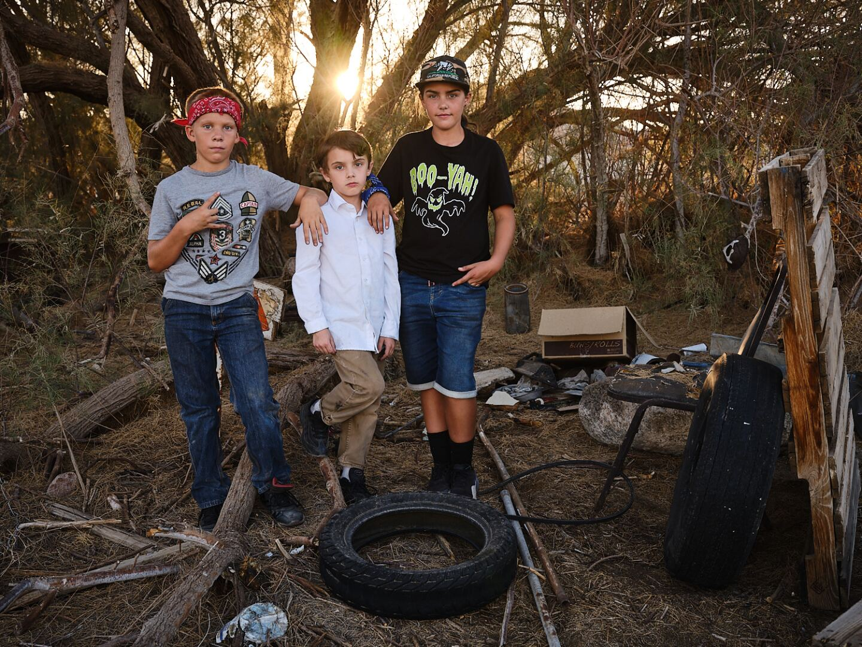 Jim, Windle and Maddie standing behind Elks Lodge, Trona, Ca.   Osceola Refetoff
