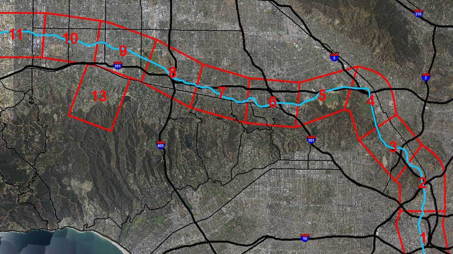 Map of zones along L.A. River where wildlife cameras are being installed. (featured) | National Park Service