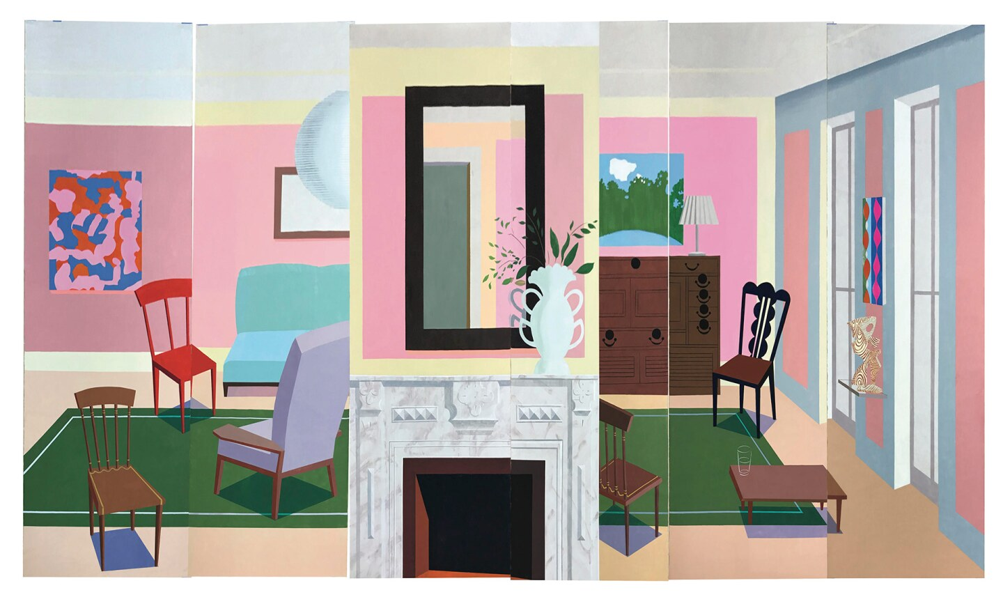 """Ann Agee, """"Pink Room,"""" 2020. Vinyl paint on Mulberry paper   Courtesy of the artist and Shoshana Wayne Gallery"""
