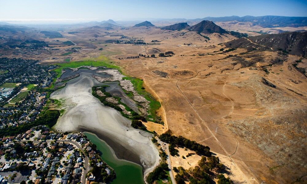 This aerial photograph highlights the effects of the drought on the Laguna Lake area of San Luis Obispo, Calif. | Photo: Brittany App.