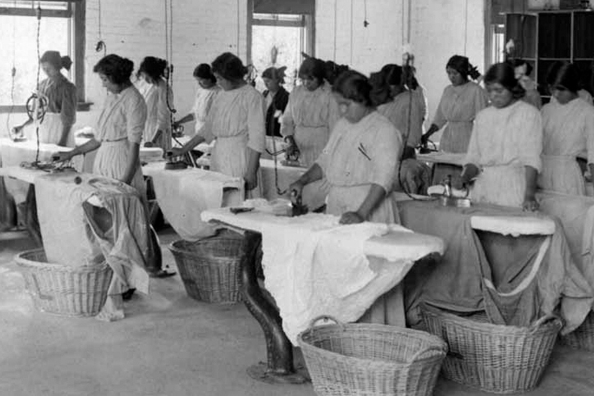 Young women attending Sherman Indian School were in the past trained as domestic workers. Credit: Sherman Indian Museum.
